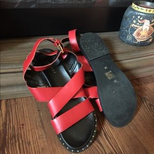 Top shop red ankle strap sandals